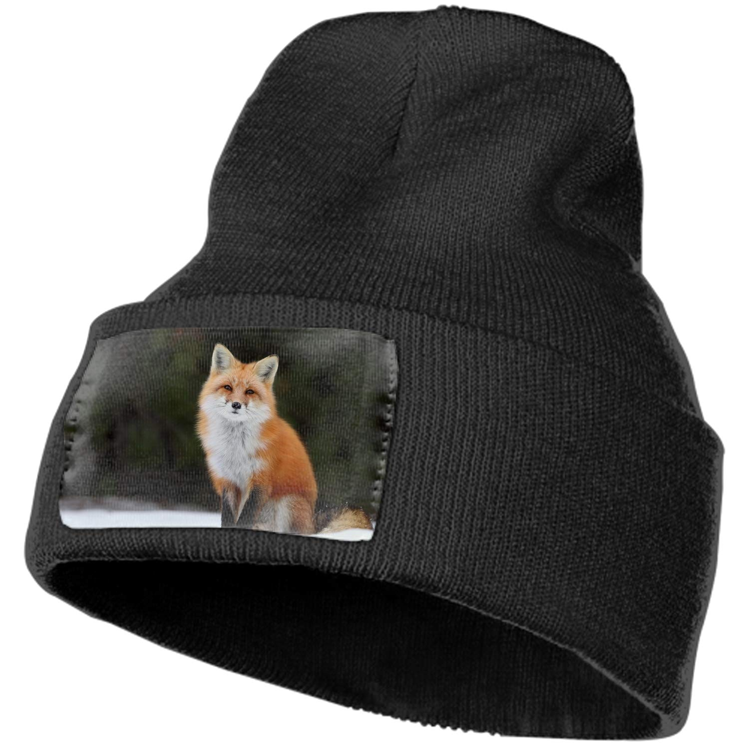 0653c5b11a2 Winter newsboy cable knitted visor beanie hat with fox in the snow hip hop  hats at