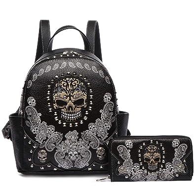 76e6744dd522 Amazon.com  Sugar Skull Punk Art Rivet Stud Biker Purse Women Fashion  Backpack Python Daypack Shoulder Bag Wallet Set ( 2 Black Set)  Shoes