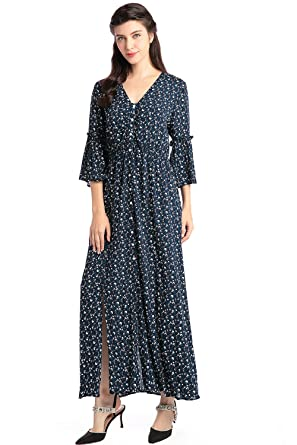 Baya Womens Boho style V Neck Maxi long dress Puff Sleeve dress Floral Print Vintage vestidos