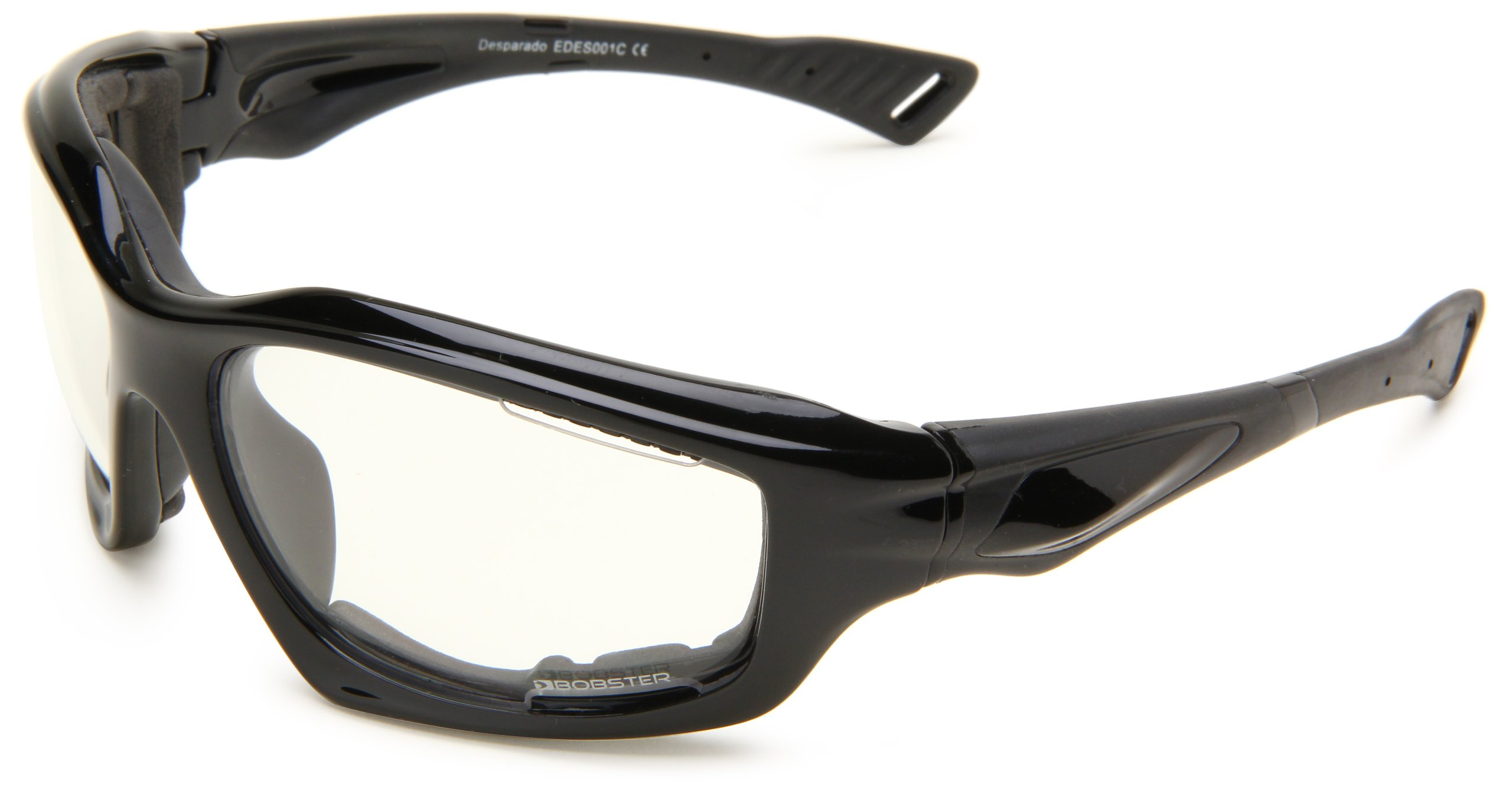 Bobster Desperado EDES001C Square Sunglasses,Black Frame/Clear Lens,One Size