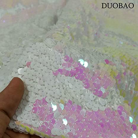 b40a21704 Image Unavailable. Image not available for. Color  DUOBAO Sewing Fabric by  The Yard 10 Yards Sequin Material ...