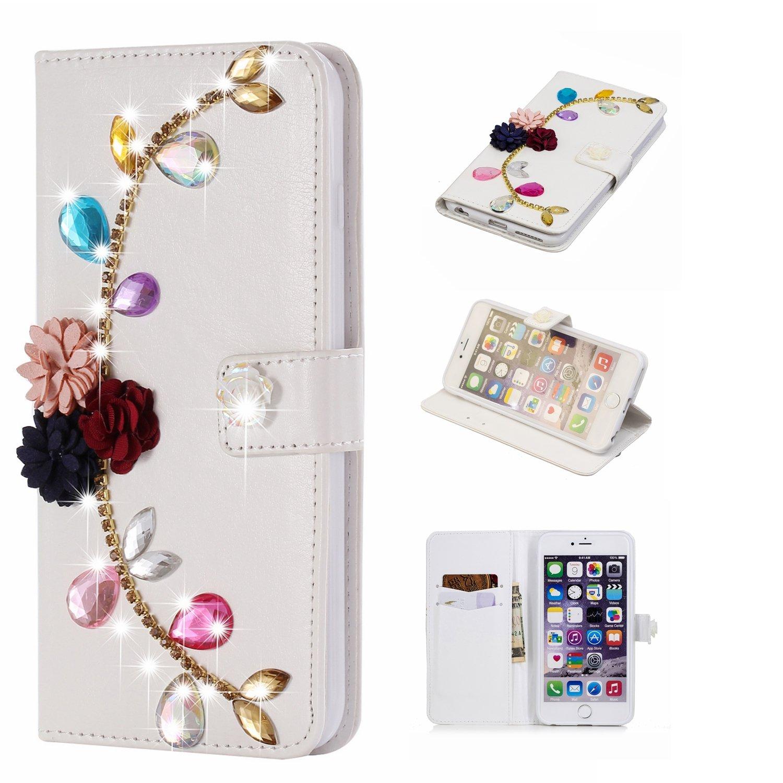 GOStyle Iphone 6 Plusキラキラ光るダイヤモンド財布ケース、iPhone 6s Plusハンドメイド3d Shiny GlitterクリスタルラインストーンPUレザーフリップスタンドカバークレジットカードスロットマグネット開閉式 B07DNXHQ2Z Colorful Rose Flower