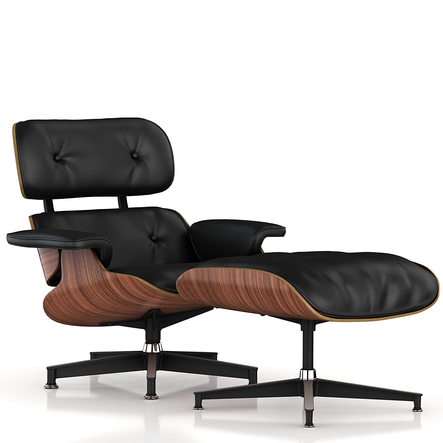Herman Miller Eames Lounge Chair And Ottoman Classic Walnut Veneer Black Leather Made In Us Amazon In Home Kitchen
