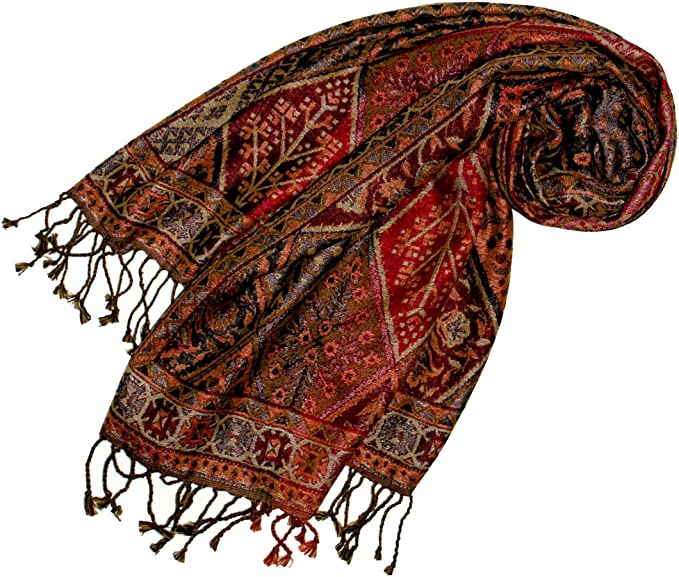 Luxus Pashmina Damen Schal Schaltuch aus Seide und Wolle 70 x 190 cm Paisley Muster Schaltuch Stola Umschlagtuch gewebt Lorenzo Cana