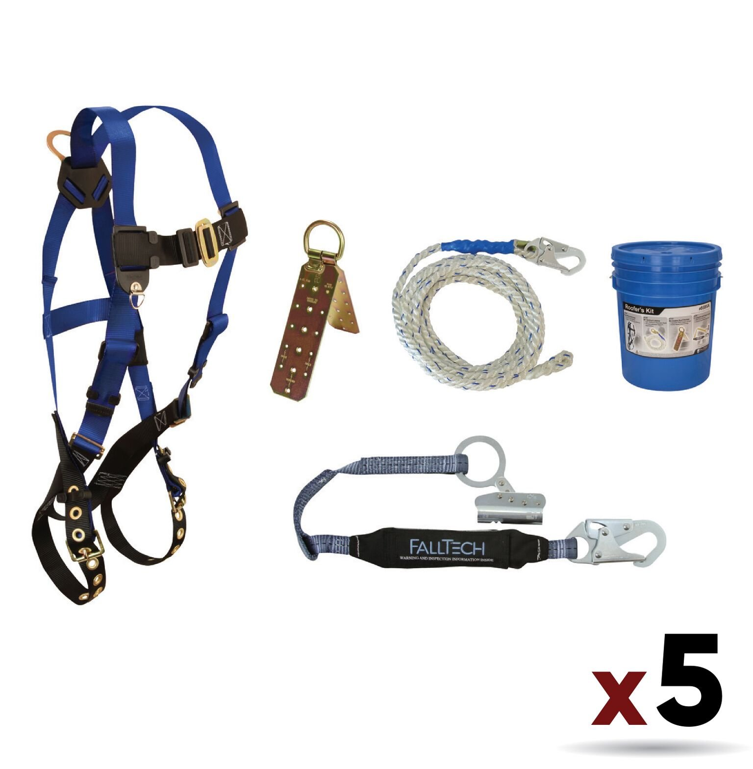 FallTech 8595A Contractor Harness with Roofer's Kit Universal Fit (5 Pack)