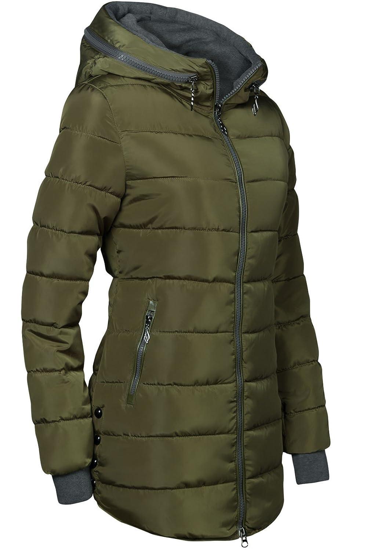 Manteau matelassé long à capuche Doublure dhiver manches avec passants de pouce