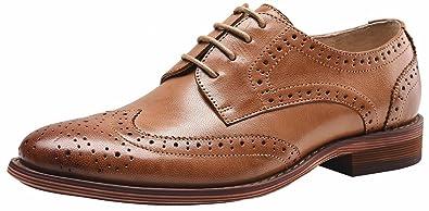 SimpleC Damen Leder Flat Vintage Brogue Oxfords Schuhe Comfy Office Schuhe