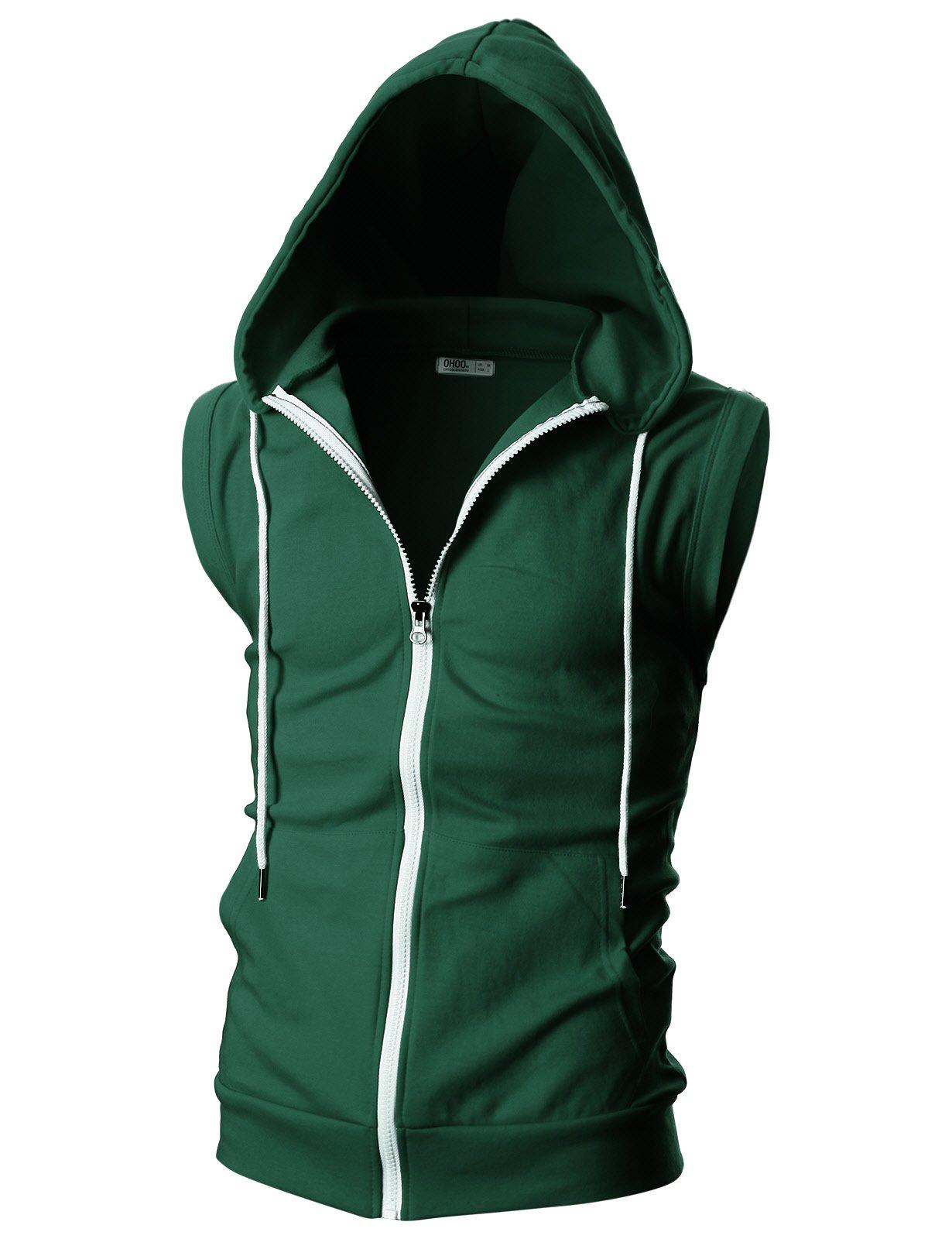Ohoo Mens Slim Fit Sleeveless Lightweight Zip-up Hooded Vest with Single Slide Zipper/DCF012-GREEN-XL