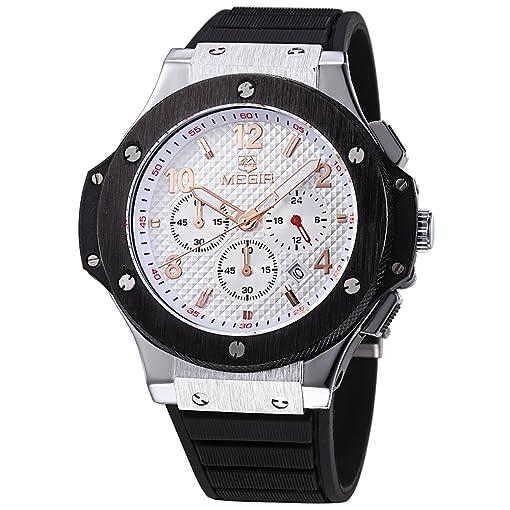 MEGIR Men Watches Military Quartz Wristwatches Black Silicone Strap Rose Gold Hands relojes