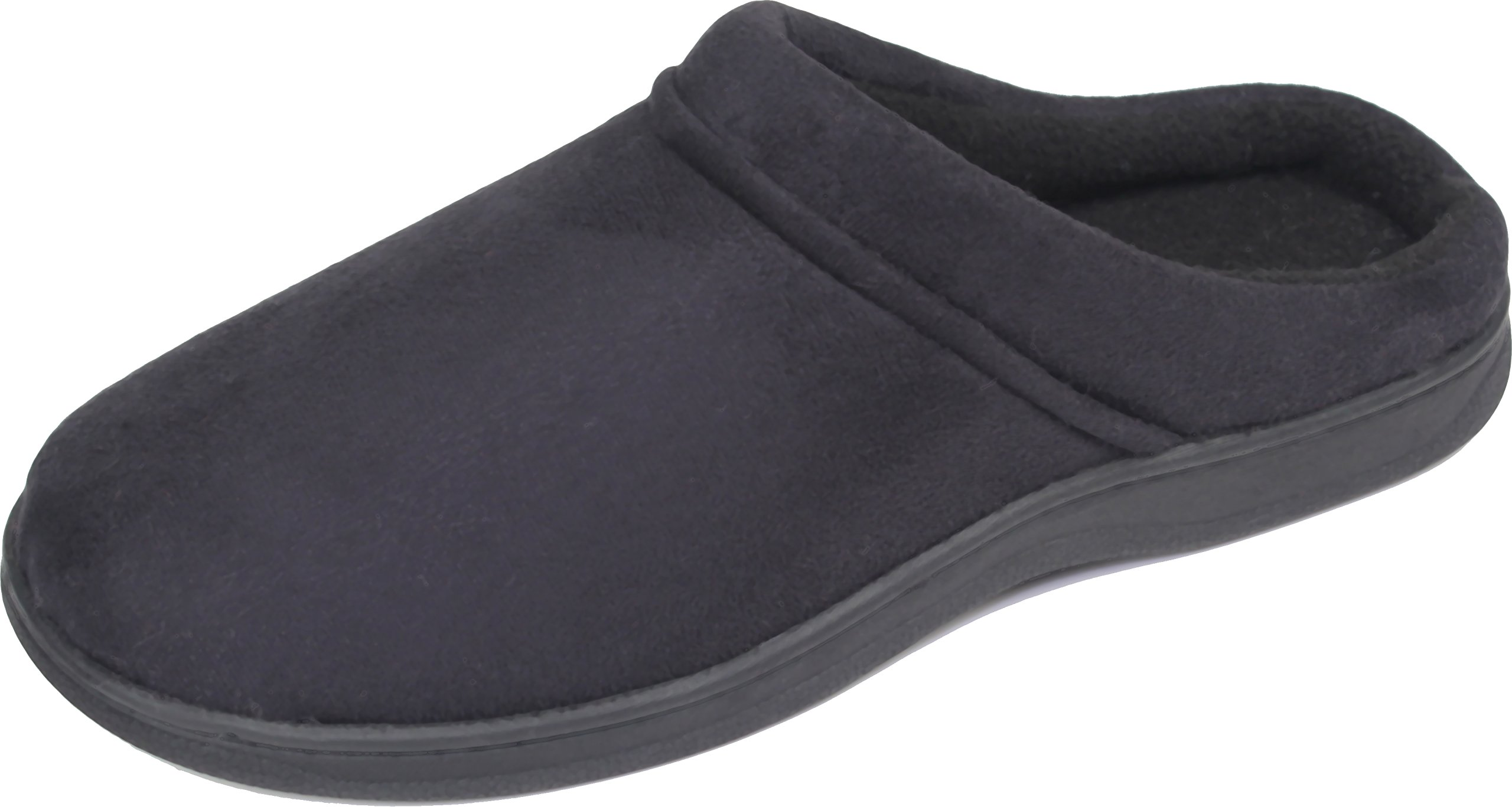 LUXEHOME Men's Slip On Indoor/Outdoor Fleece Scuffs Slipper (10-11 US, Dark Blue)