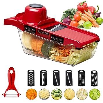Vegetable Slicer Fruit Cutter Kitchen Chopper Onion Blades with Peeler Storage