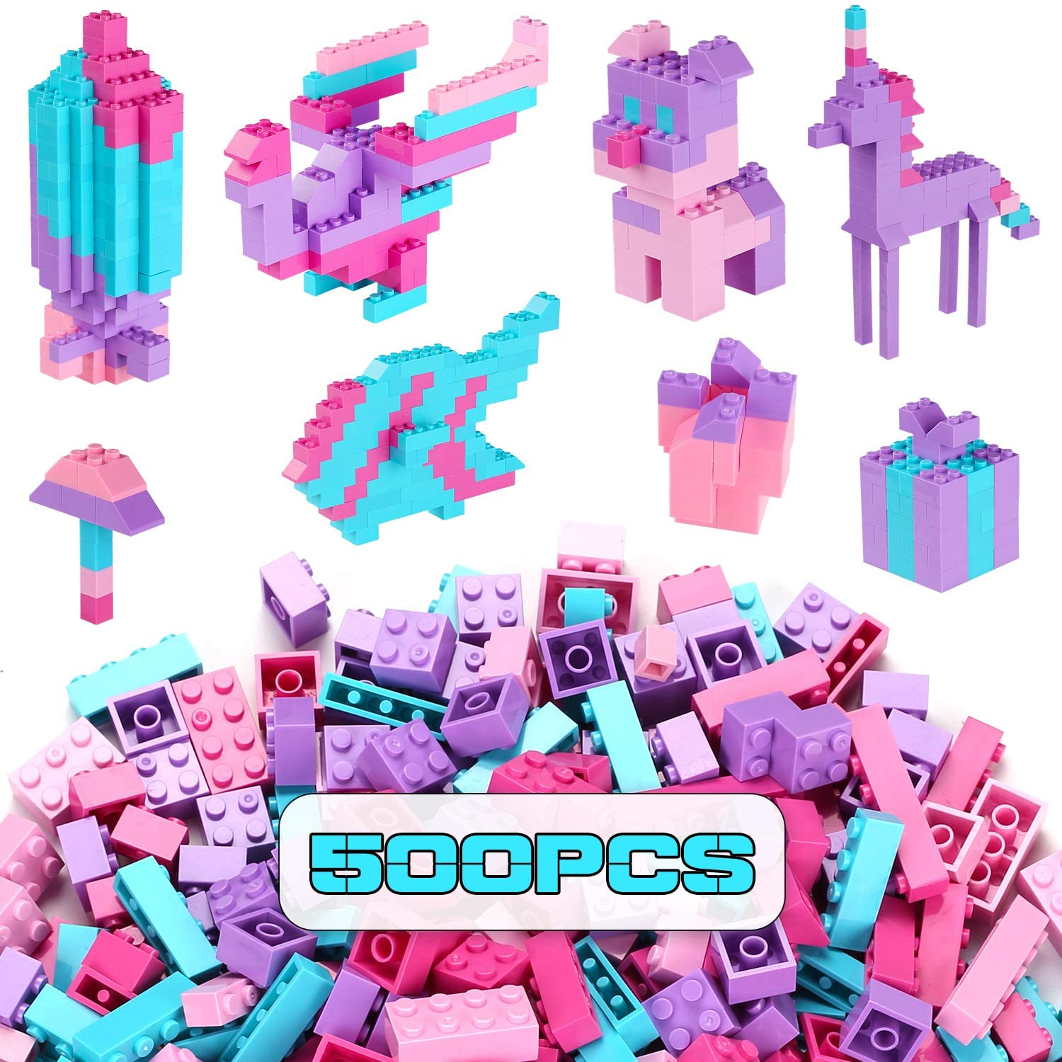 Building Bricks 500 Pieces Set ,Classic Colors Building Blocks Toys,Compatible with All Major Brands,Birthday Gift for Kids (Pink-Purple)