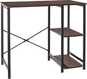 AmazonBasics Classic Computer Desk With Shelves - Espresso