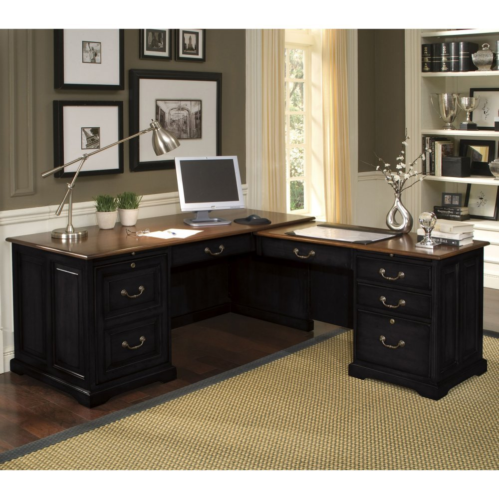 with cool shaped space office design black desk l best desks hutch executive home furniture designs