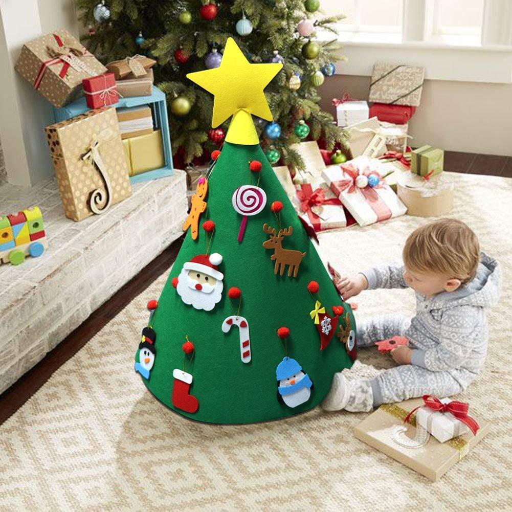 Vaxiuja Albero di Natale in Feltro, 3ft Albero di Natale in Feltro Fai da Te + 26 Pezzi di Ornamenti Staccabili, Regali di Natale appesi alle pareti per Decorazioni Natalizie