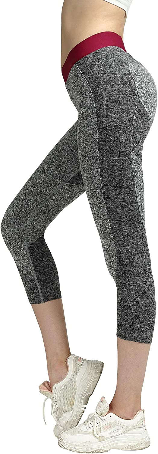 SEKERMAET Workout Leggings Yoga Pants, Gym Athletic Tights for Women Mid Waist Seamless Running Sports Flex Black Grey Teal