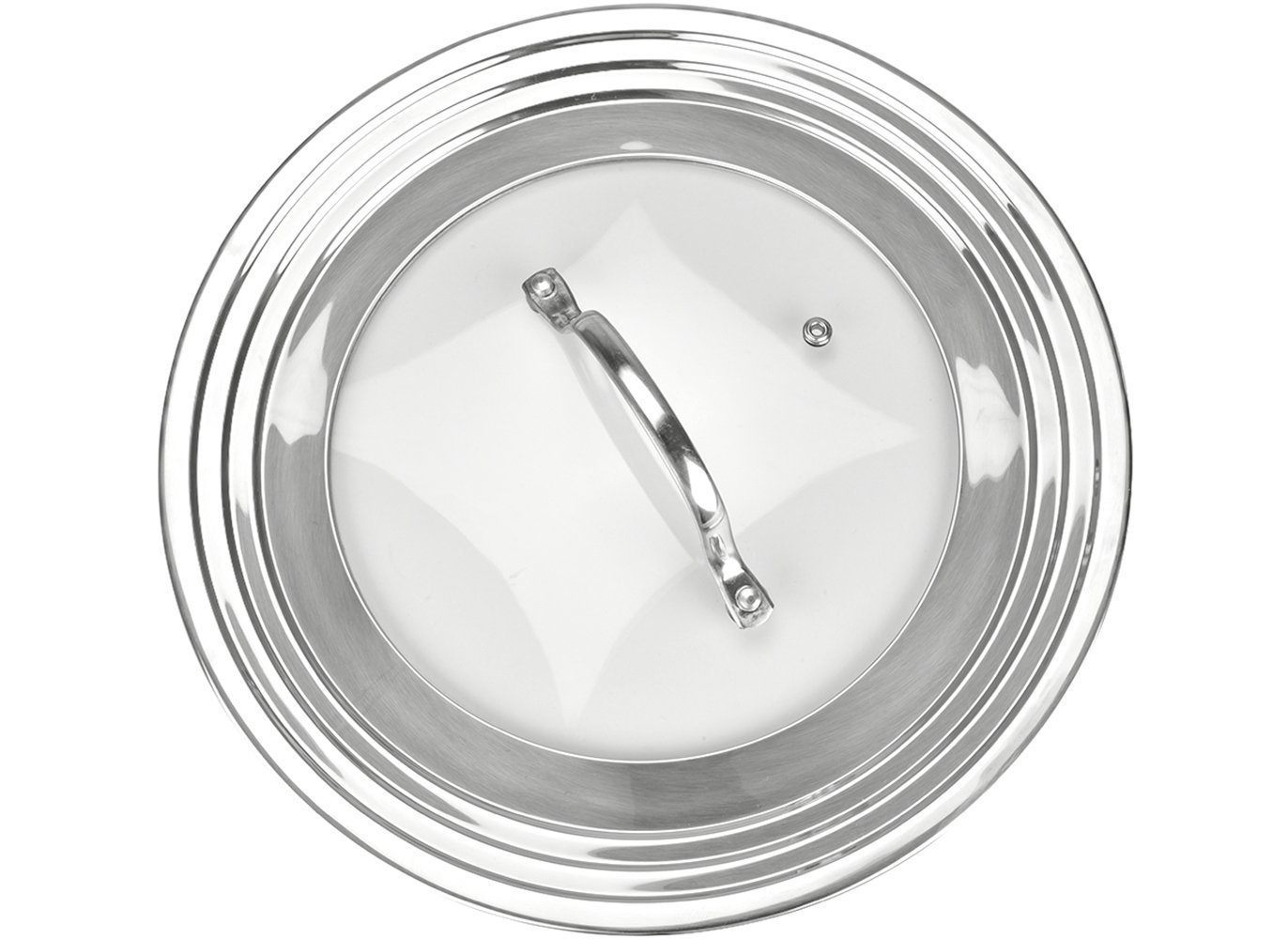 "Universal Lid Stainless Steel 18/8 and Tempered Glass, Fits All 7"" to 12"" Pots and Pans, Replacement Frying Pan Cover and Cookware Lids"