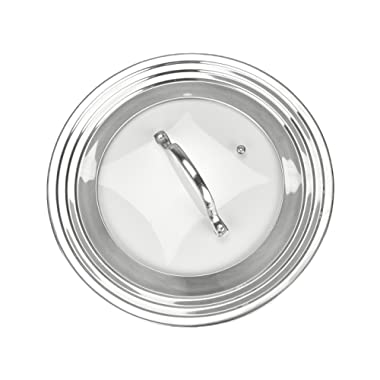 Elegant Stainless Steel and Glass Universal Lid, Fits All 7  to 12  Pots and Pans, Replacement Frying Pan Cover and Cookware Lids - Modern Innovations