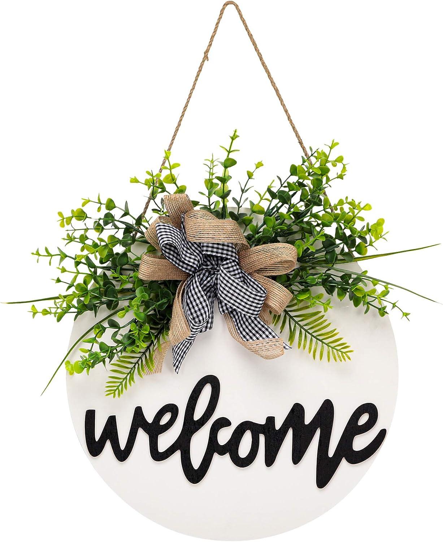 Welcome Sign for Front Door,Front Door Decor,Wreaths for Front Door, Rustic Wooden Door Hangers Front Porch Decor Outdoor Hanging Vertical Sign