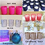 5 Gold Glitter Glass Jardin Vases with Soft Pink