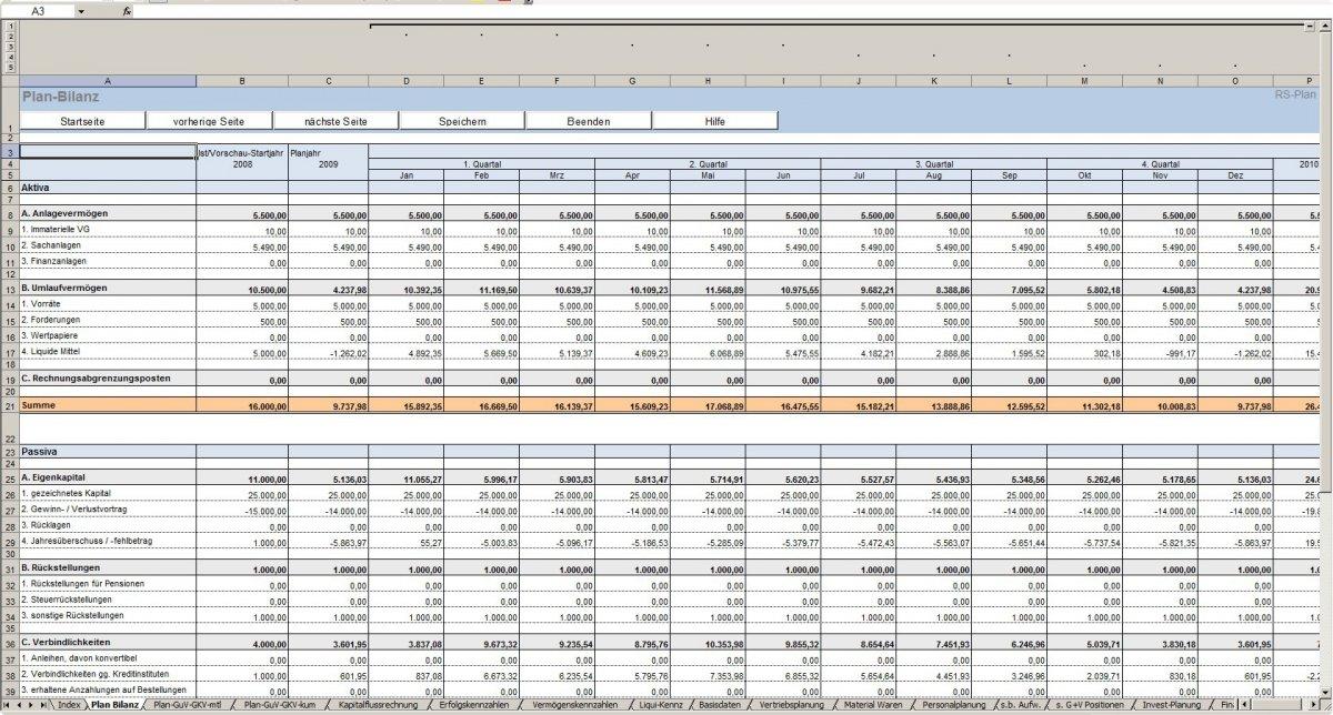 RS-Plan - Unternehmensplanung - Excel-Vorlage - Plan-GuV und Plan ...