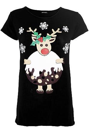 86fe1c62 Be Jealous Womens Funny Boobs Crew Neck Christmas Pudding Printed Ladies  Xmas Tee Shirt Plus Size UK 8-22: Amazon.co.uk: Clothing