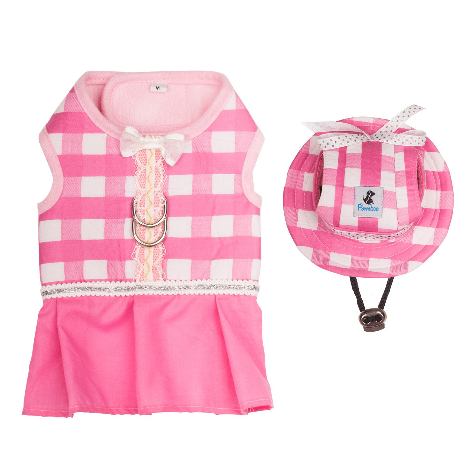Pet clothes + hat set Pawaboo pet costume + cap skirt lace small medium-sized dog cotton cat corresponding fashionable M size Pink + White grid