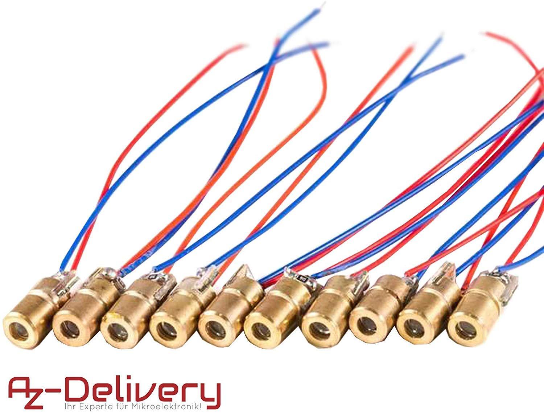 WPERSUVV 15pcs 5V 650nm 5mW Red Dot Diode Laser Head Red Laser Diode 6mm Red Laser Diode Laser Head