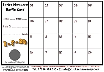 50 Lucky Numbers Fundraising Raffle Cards (20 Squares): Amazon co uk
