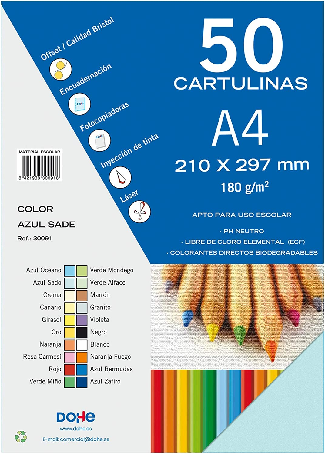 Dohe 30091 - Pack de 50 cartulinas, A4, color azul sado: Amazon.es: Oficina y papelería