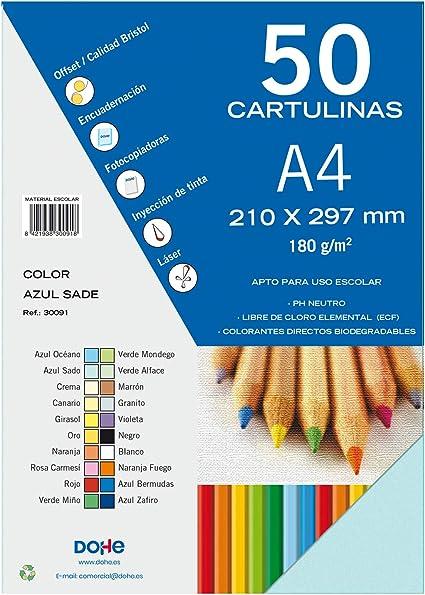 Dohe 30091 - Pack de 50 cartulinas, A4, color azul sado: Amazon.es ...