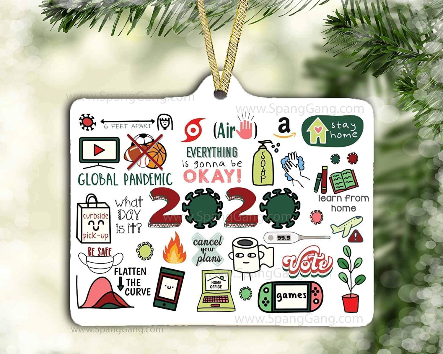 Neighbor Gift The Year We All Stayed Home Custom Christmas Ornaments Pandemic Ornament 2020 House Ornament COVID gift