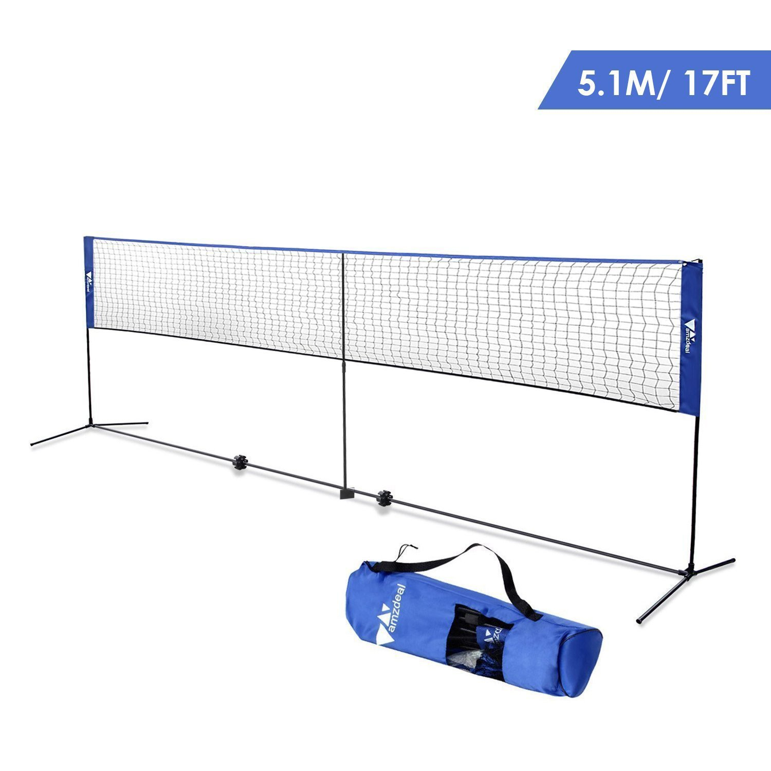 amzdeal Badminton Net 17ft Height Adjustable Portable Tennis Volleyball Net for Indoor Outdoor Use with Stand/Frame