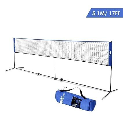 Amazon.com : amzdeal Badminton Net 17ft Height Adjustable Portable ...