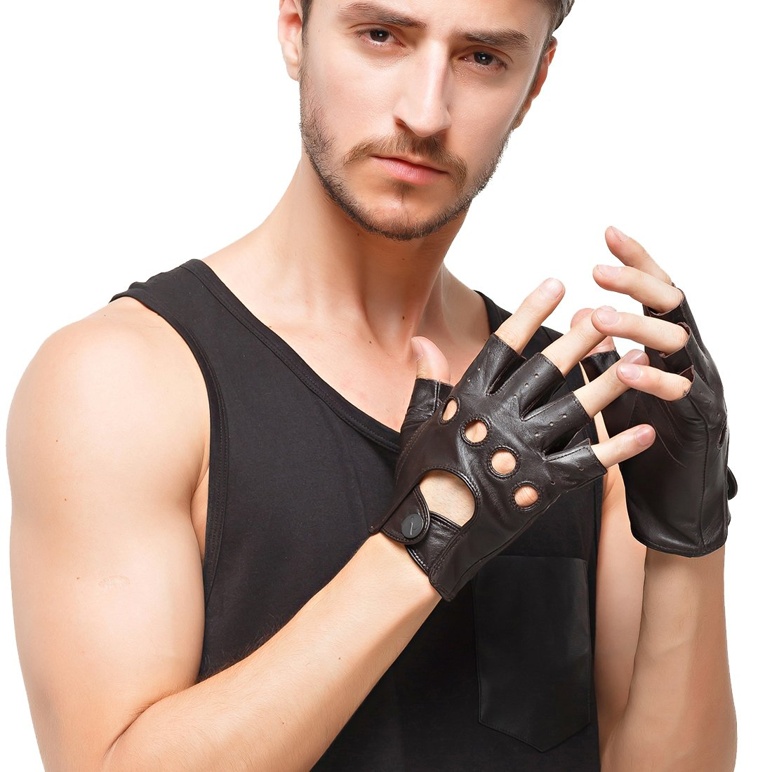 Nappaglo los hombres de cuero guantes de conducir italiano medio dedo guantes fingerless sin forro de piel de cordero para la motocicleta Ciclismo Equitacion