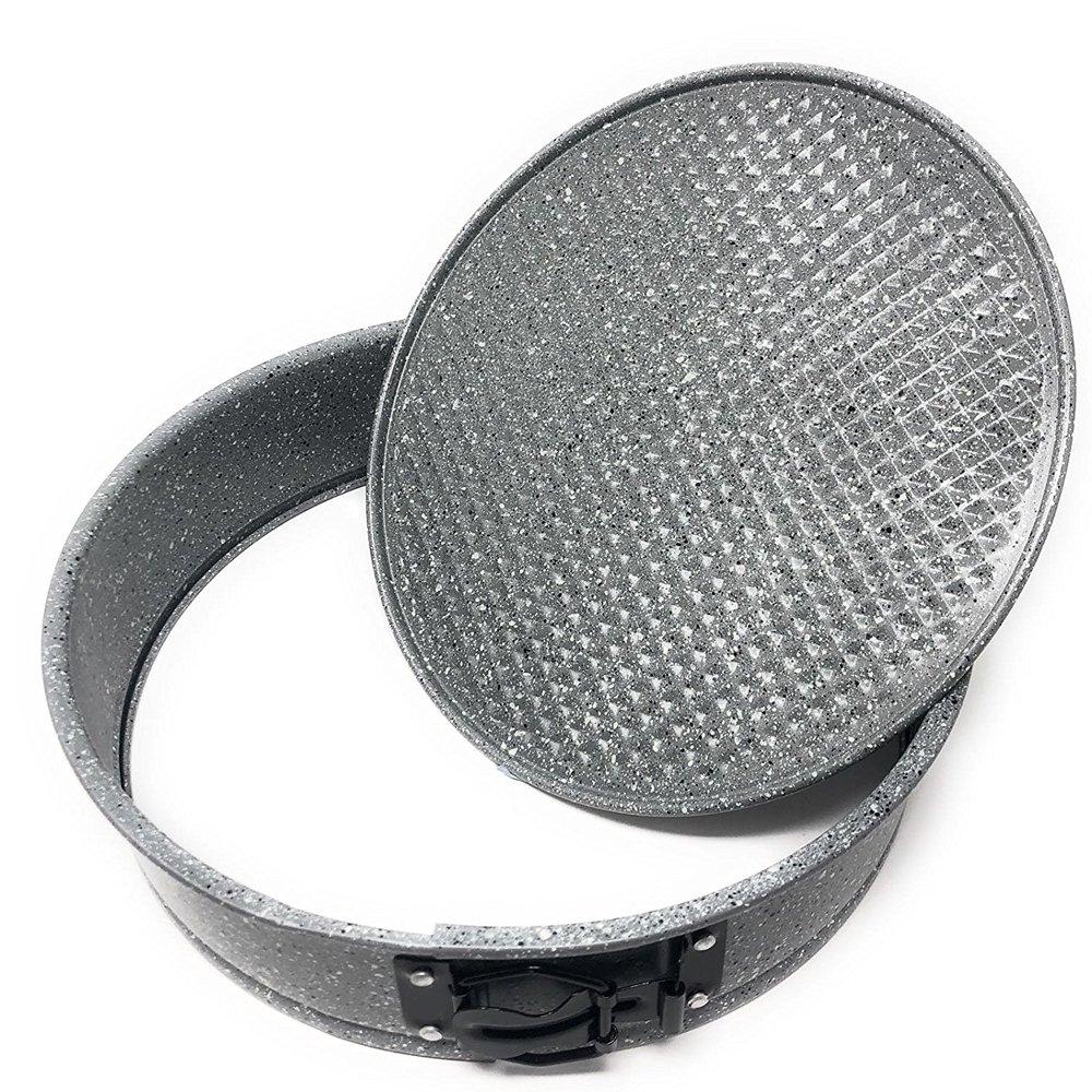 LS Cake Teglia Rotonda da Forno con Rivestimento Antiaderente Tortiera Apribilie di Forma Circolare Effetto Pietra /Ø 24 cm