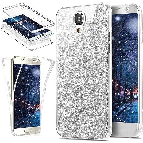 Funda Galaxy S4,Carcasa Galaxy S4,ikasus Brillantes Lentejuelas Estrella Brillo Transparente TPU Silicona 360°Full Body Fundas Skin Cover Carcasa ...