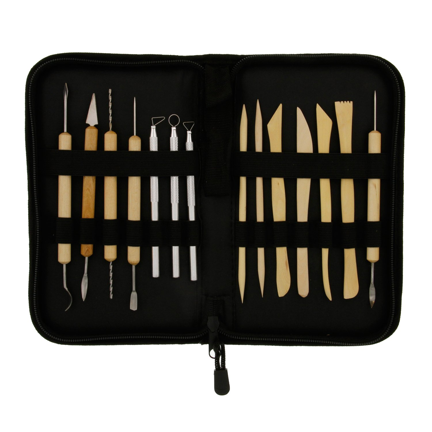 US Art Supply 14-Piece Pottery Clay Sculpture /& Ceramics Tool Set with Canvas Zippered Case