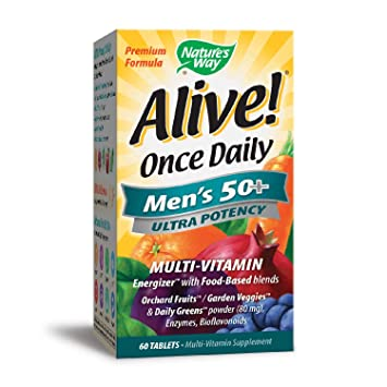 Natures Way Alive Once Daily Mens 50+ Multi Ultra Potency, Tablets, ...