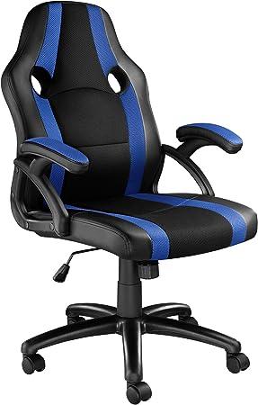 TecTake 800781 Silla de Oficina, Asiento Gaming, PC Escritorio Ordenador, Ergonómica, Ruedas Dobles, Ajustable en Altura, Despacho Estudio (Negro-Azul | No. 403480): Amazon.es: Hogar