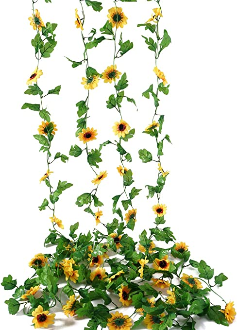 4pcs Artificial Sunflower Garland Silk Flower Vine w//Green Leaves Wedding Decor