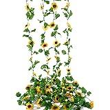 Beferr 4 Pack 7.8FT Artificial Sunflower Vine Hanging Sunflower Garland Silk Flowers with Garden Craft Art Party Home Wedding