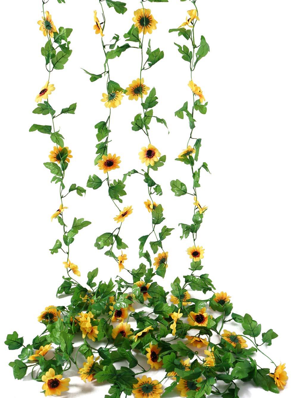 silk flower arrangements beferr 4 pack 7.8ft artificial sunflower vine hanging sunflower garland silk flowers with garden craft art party home wedding decor