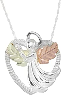 product image for 925 Sterling Silver Heart Black Hills Angel Pendant Necklace with 12k Gold Leaves