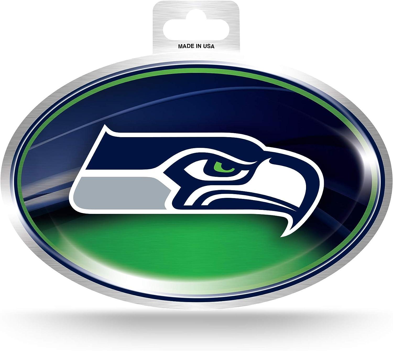 NFL Rico Industries  Metallic Team Logo Sticker Seattle Seahawks,Team Color,3.5 x 5-inches