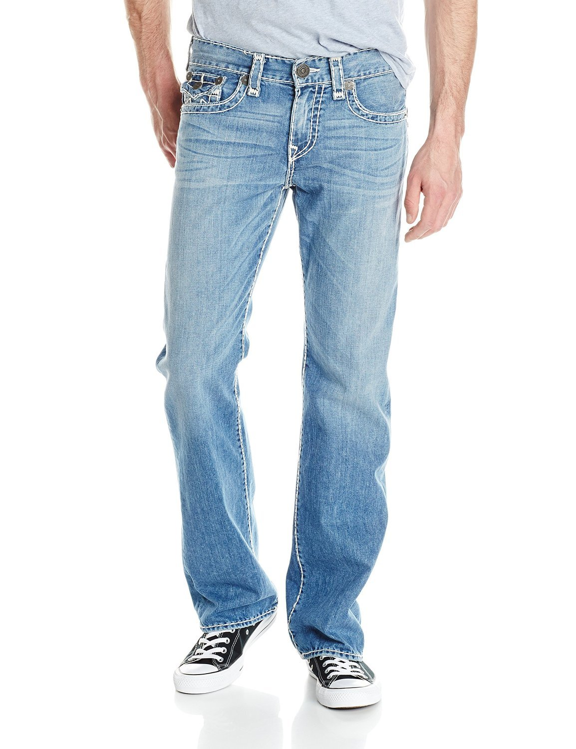 True Religion Men's Billy Super T Flap Pockets Bootcut Jean in Four River (44, Four River)