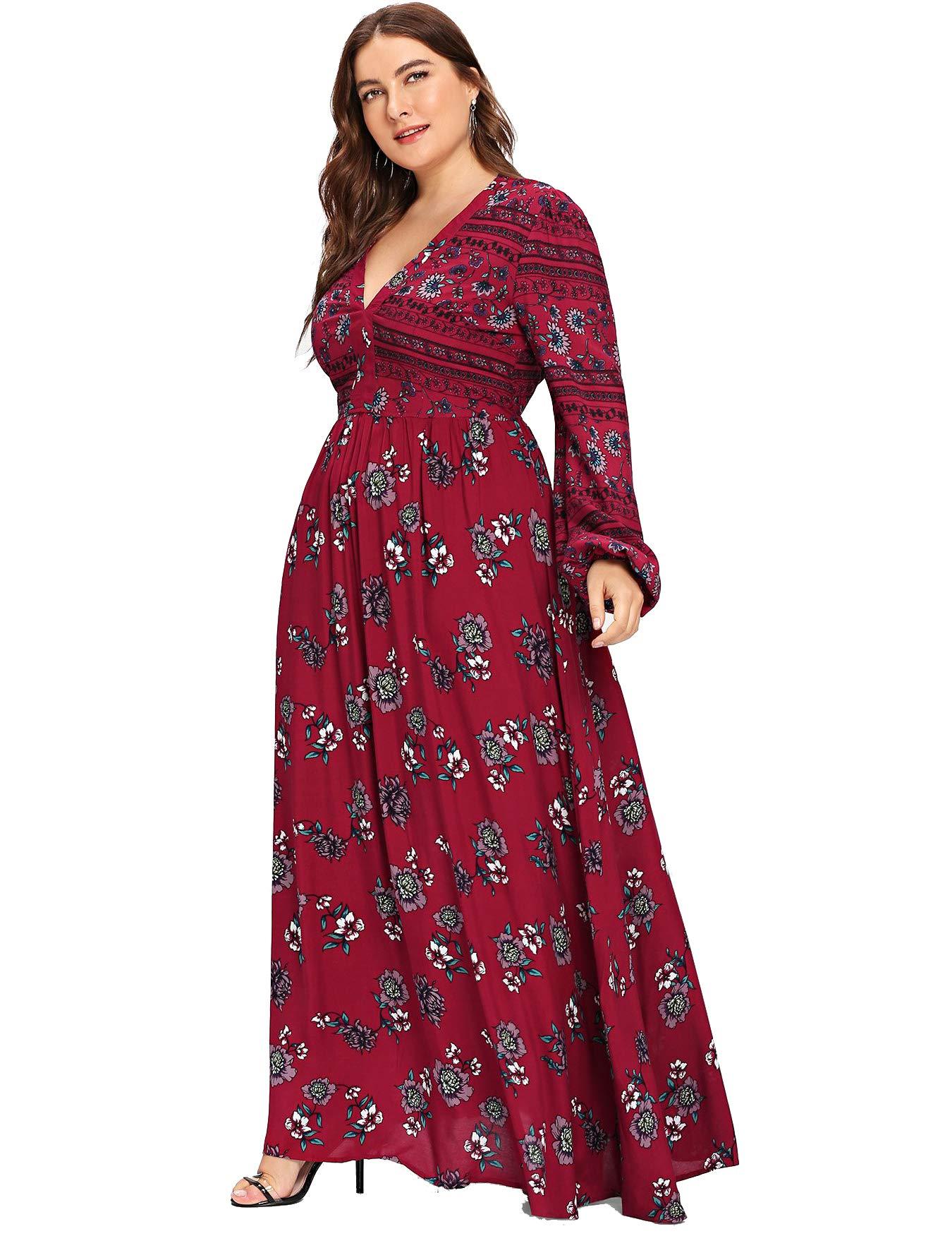 764272af91 Milumia Women Plus Size Empire Waist Homecoming Party Wrap V Neck Dress  Wine 1X