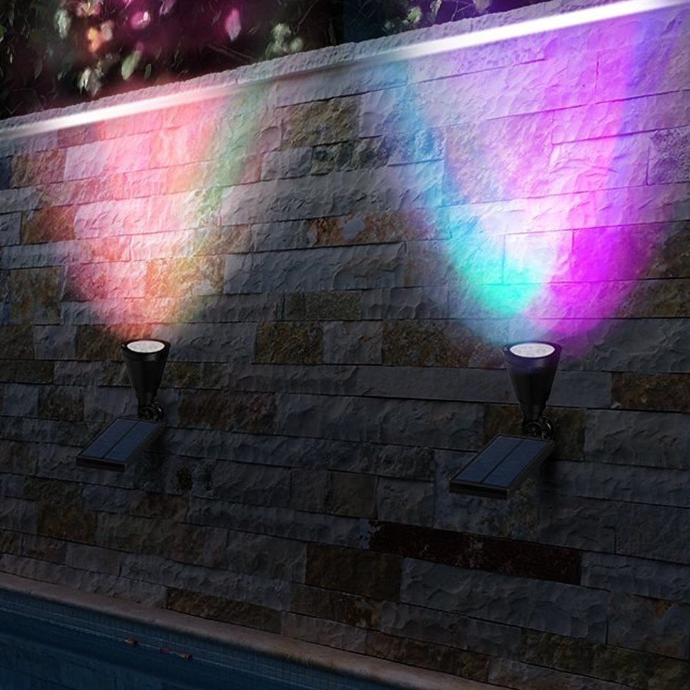 LED Solar Spotlight, T-SUNRISE 4 LED Solar Lights, IP65 Waterproof Landscape Light Security Lighting Dark Sensing Auto On/Off, Adjustable for Tree, Patio, Yard, Garden, Driveway, Stairs, Pool Area (4P by T-SUNRISE (Image #7)