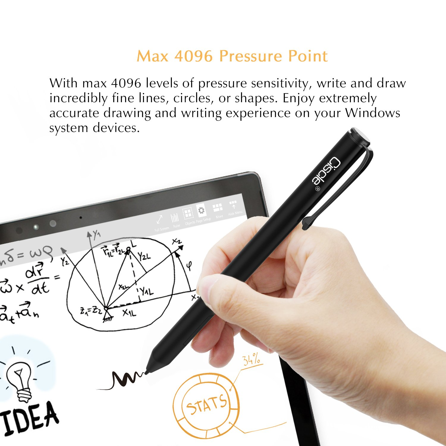 Surface Pen, Ciscle Digital Stylus Pen: High-precision 1.0mm, with 4096 Levels of Pressure Sensitivity, Right Click and Erase Buttons for Surface Pro(2017), Surface Pro 4, Surface Laptop/Book_(Black) by Ciscle (Image #2)