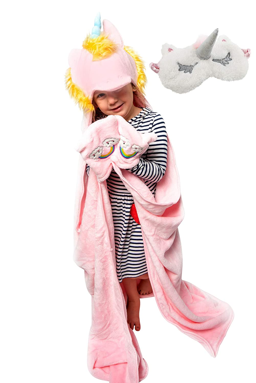 Aloha Cozy Unicorn Blanket for Girls   Unicorn Throw Blanket for Girls Set   Unicorn Eye Mask and Unicorn Hoodie for Girls   Smooth and Soft   Premium Quality   Best for Gift